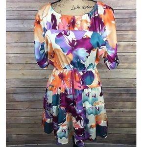 LOFT Sz XSP Petite Orange Purple Dress